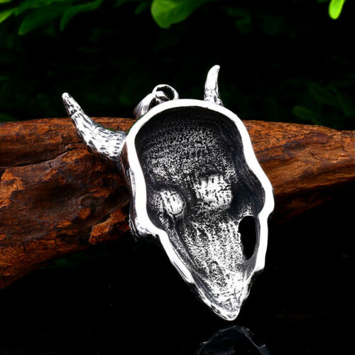 Totenkopf Satan Teufel Gothic Halskette Anhänger Kette Kreuz Skull Schmuck Skull