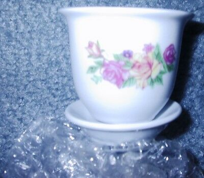 Victorian Garden Porcelain Collectible Planter Yellow Pink Rose Floral Flowers