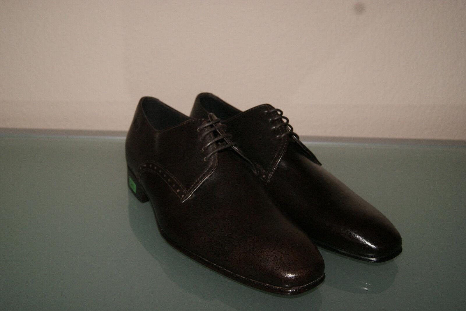 Hugo Boss Schuhe Gr 40,5 6,5 Business Herrenschuhe MELZIO dunkelbraun NEU