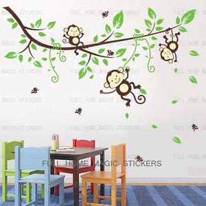 Giungla-Scimmia-Tree-Adesivi-Da-Parete-Arte-Decalcomania-CARTA-BABY-KIDS-BEDROOM-DECORAZIONI-per