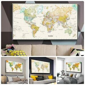 World-Map-Canvas-Poster-Living-Study-Room-Wall-Picture-Decoration-Spray-Painting