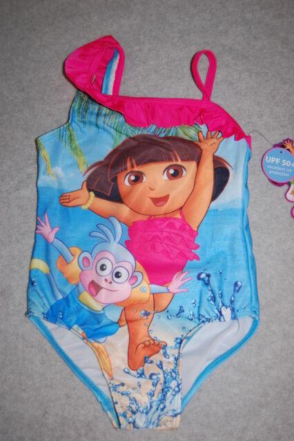 c4666634f99f7 Toddler Girls Swimsuit DORA & BOOTS Blue Beach OFF SHOULDER Pink Ruffle 24  MO