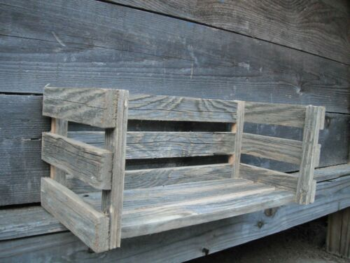 Country Cottage Wood Shelf Crate Farmhouse Barn Distressed Rustic Weathered Wood