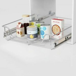 vidaXL-2x-Pull-Out-Wire-Baskets-Silver-600mm-Kitchen-Utensil-Holder-Rack-Unit