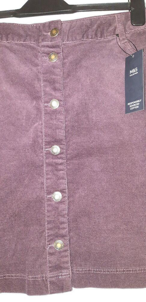 M&s Collection Velours Boutons Sur Le Devant Dark Grape Femme Mini Jupe Taille Uk 20