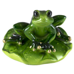 """Frog Couple On Rock Figurine 4/"""" High Glossy Finish All Resin New!"""