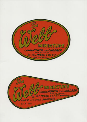 Webb Miniature Vintage Children/'s Mower Decals