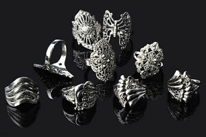 100-pcs-Wholesale-Jewelry-Lots-Mixed-Style-Tibet-Silver-Vintage-Rings-Free-Ship