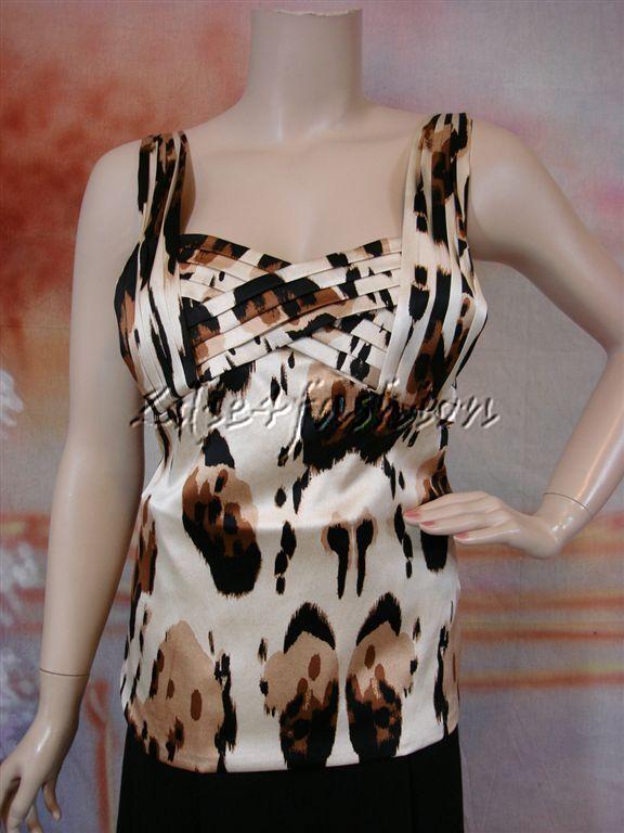 1665 Nueva ROBERTO  CAVALLI Elástico Seda Crema Marrón Bronceado de animales del Leopardo Top 12 46  nuevo listado
