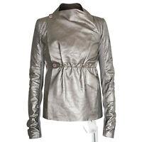 RICK OWENS $2,415 silver metallic distressed  lamb leather biker jacket 40 NEW