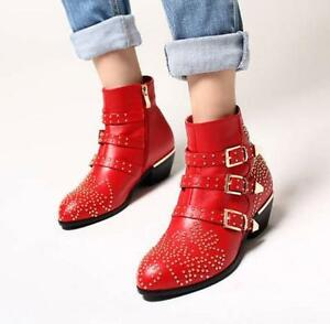 Womens-Leather-Punk-Studded-Buckle-Low-Heel-Rocker-Cowboy-Ankle-Boots-Shoes-US-8