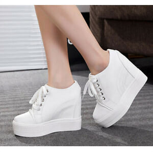Fashion-Sneakers-Womens-Hidden-Wedge-Heel-High-Top-Spring-Boots-lace-Up-Shoes