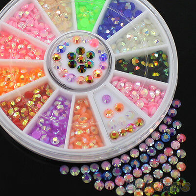 Colorful Fashion Fluorescent 3D Acrylic Glitter DIY Nail Art Tips Stickers Wheel