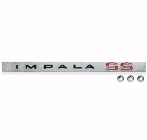1965 Impala Rear Trunk Lid Molding Emblem IMPALA SS Super Sports w//Hardware Dii