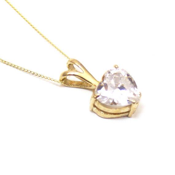Pendant Diamond Unique 3ct Heart 9ct gold Yellow pink or White UK Hallmarked