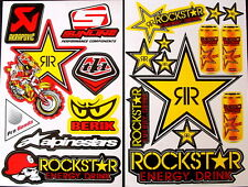 2 Sheets scooter motocross Stickers mx Energy Rockstar BMX Bike y41r9 decal