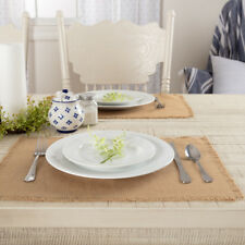 VHC Brands Burlap Natural Placemat Set of 6 Fringed 12x18