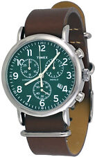 Timex TW2P97400 Men's Weekender Brown Leather Band Green Dial Chronograph Watch