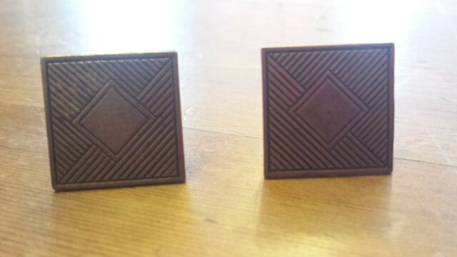 Vintage Brass, Rectangular, Geometric Pattern, Cuff Links