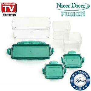 genius nicer dicer fusion 6 teile mint gr n auffangbeh lter neu ebay. Black Bedroom Furniture Sets. Home Design Ideas