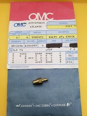 VALVE AY  CHECK OMC JOHNSON Evinrude OEM 5000477
