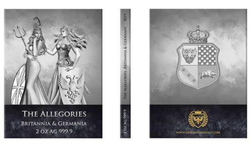 Germania 2019 10 Mark Allegories Britannia /& Germania 2 Oz Silver BU Round Ebux