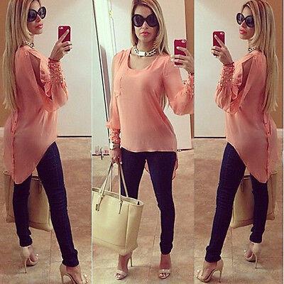 Fashion Women's Lady Loose Long Sleeve Chiffon Casual Blouse Shirt Tops Blouse