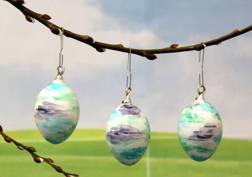 aus Glas 7cm Ostereier Eier Osterdekoration 3tlg Durchmesser 5 cm Farbe blau