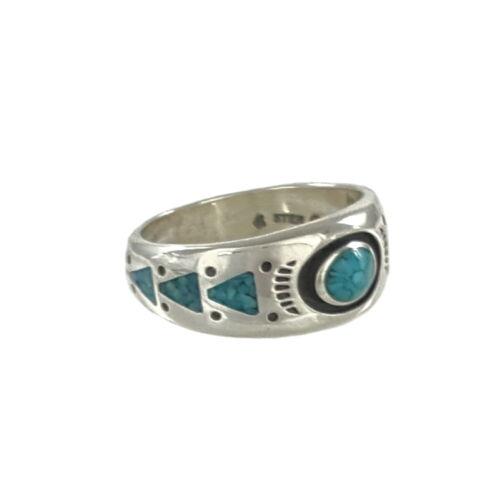 Silber Ring Türkis Chipinlay Indianerschmuck Navajo Design Schmuck 17-22mm CR914