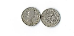 LOT OF 8 BRITISH WEDDING SIXPENCE COINS Elizabeth II  UK ENGLAND