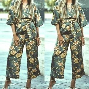 55dff37a5fd ZARA FLORAL ORIENTAL PRINT WIDE LEG JUMPSUIT WITH A TIE BELT NEW ...