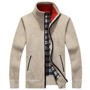Men-039-s-Casual-Sweater-Slim-Zip-Thick-Cashmere-Loose-Knit-Shirt-Cashmere-Cardigan
