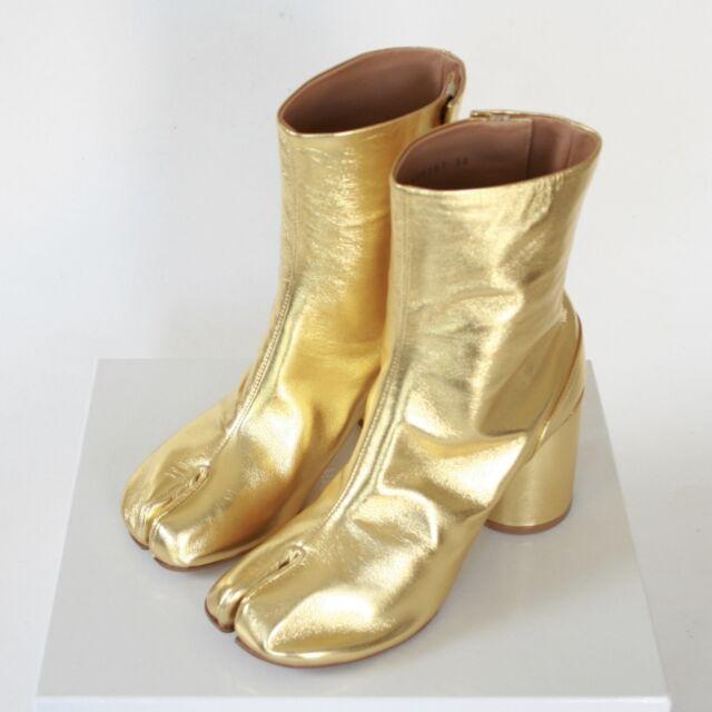 MAISON MARTIN MARGIELA tabi split toe gold leather high heel boots 37.5 NEW