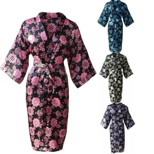 Kimono Robe Wedding Bride Bridesmaid Women Bathrobe Satin Floral Printed Short