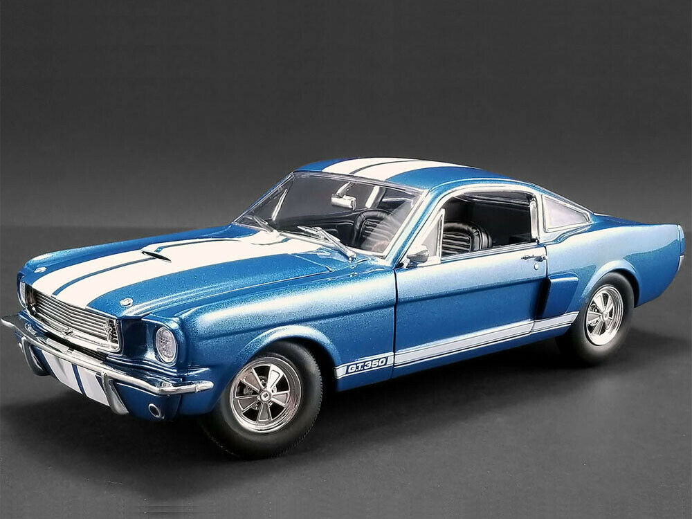 ACME 1 18 1966 Shelby GT 350 Supercharged & Weiß Stripes Diecast Blau A1801834