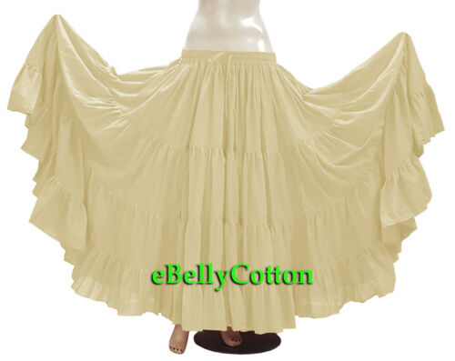 Cream Skirt 25 Yard 4 Tier Cotton Belly Dance Tribal Gypsy  Flamenco Jupe ATS