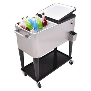 Image Is Loading 80 Quart Patio Rolling Stainless Steel Ice Ice
