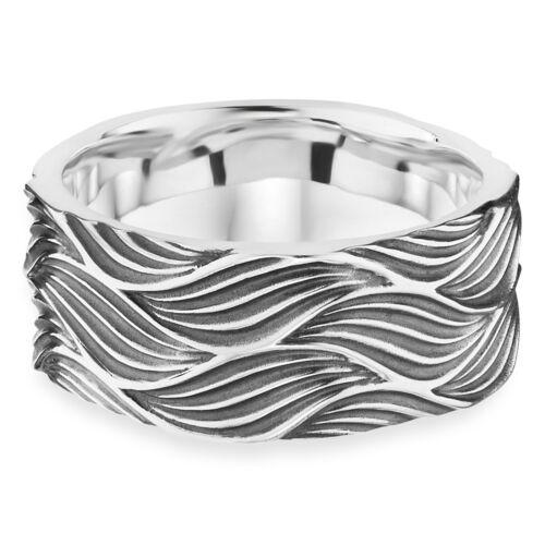 cai men Bandring 925 Sterling Silber rhodiniert oxidiert Wellen-Motiv Herren NEU