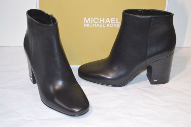 4f62a92ba9b8 New  199 Michael Kors Elaine Bootie Black Leather Short Ankle Boots Heel