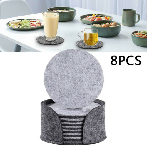 8Pcs//Set Round Felt Fabric Anti-slip Cup Mat Drink Coaster Beer Coffee Placemat
