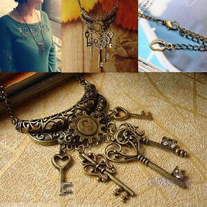 Vintage-Retro-Style-Bronze-Color-Chain-Clear-Rhinestone-Key-Pendant-Necklace-Hot