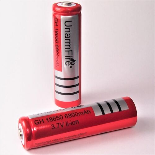 6 x  Unarm Fire 6800 mAh  Lithium Ionen Akku 3,7 V 18650 Li ion rot