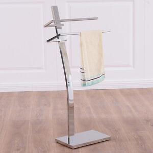 2 Tier Free Standing Floor Towel Holder Contemporary Chromed Steel Bathroom New