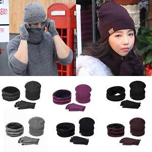 Unisex-Winter-keep-Warm-Wool-Knit-Crochet-Beanie-Hat-Ski-Cap-Scarf-Gloves-Set