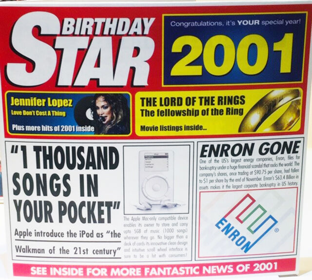 2001 Birthday Star Retro Greeting Card Gift