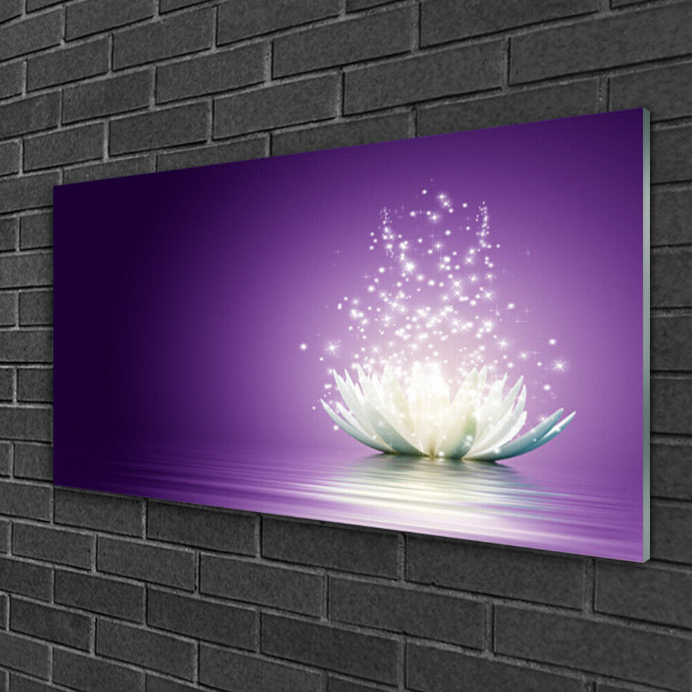 Print on Glass Wall art 100x50 Picture Image Lotus Floral