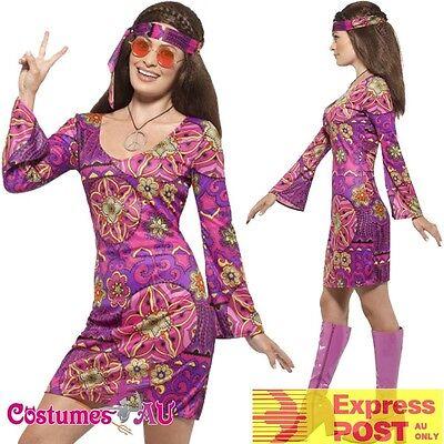 Ladies Woodstock Hippie Chick Costume 60s 70s Groovy Hippy Womens Fancy Dress