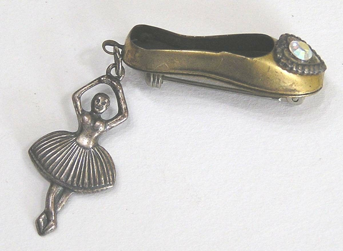Vintage Jewelry Figural Ballerina and Slipper Brooch 1950s Very Hard To Find