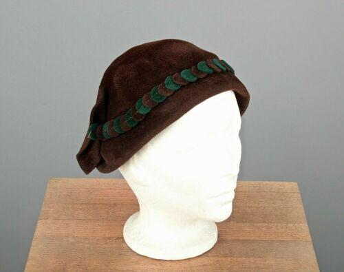 VTG Women's 30s 40s Brown & Green Velvet Hat 1930s
