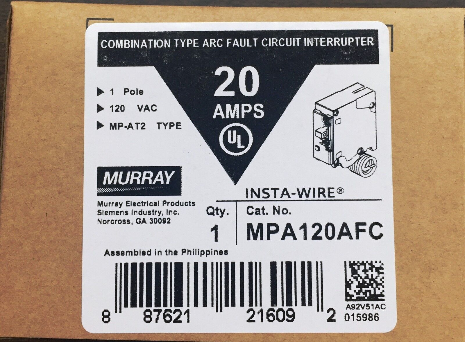 Mpa120afc Murray 1 Pole 20 Amp Arc Fault Circuit Breaker Ebay Ground Interrupter Philippines